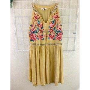 Andree Embroidered Yellow Mini Sundress Size Sm